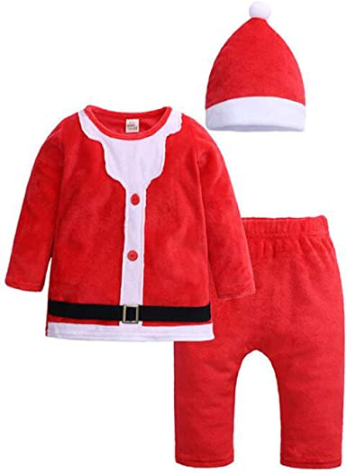 Kids Baby Boys Christmas Party Costume Santa Claus Clothes Outfit Whole Set
