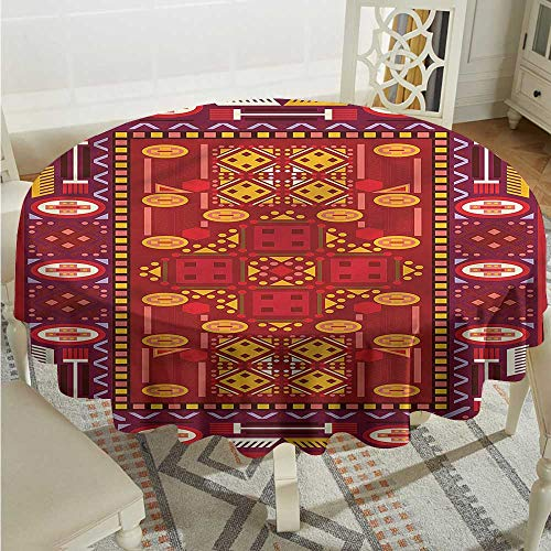 (Tim1Beve Afghan Stain Resistant Round Tablecloth Middle Eastern Design Dinner Picnic Table Cloth Home Decoration D60 INCH)
