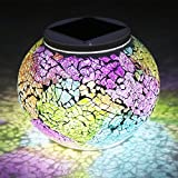 Solar Table Lights, SUNVIE Color Changing Solar Powered Glass Ball Led Lights, Outdoor/Indoor Waterproof Solar Night Lights Table Lamps for Patio Garden Christmas Decorative Lighting (Multi-Colored)