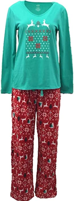 Soft Sensations Womens Nordic Reindeer Pajamas Fleece Sleep Pants T-Shirt  Set M f97169bca