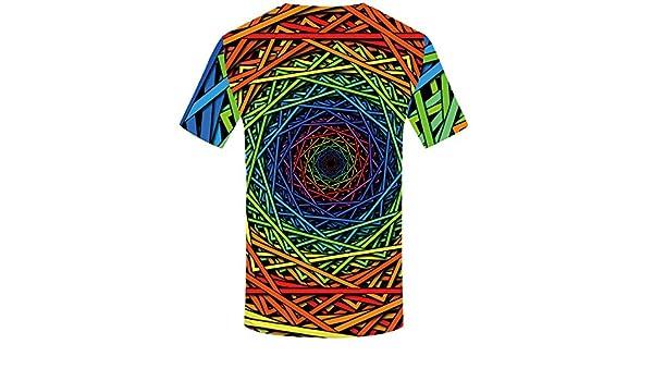 Línea de Color Cuello Redondo Manga Corta Impresa en 3D para Hombre,Camiseta para Hombre, Camisas de Moda de Verano para Hombres Camiseta de Manga Corta Deportivas: Amazon.es: Ropa y accesorios