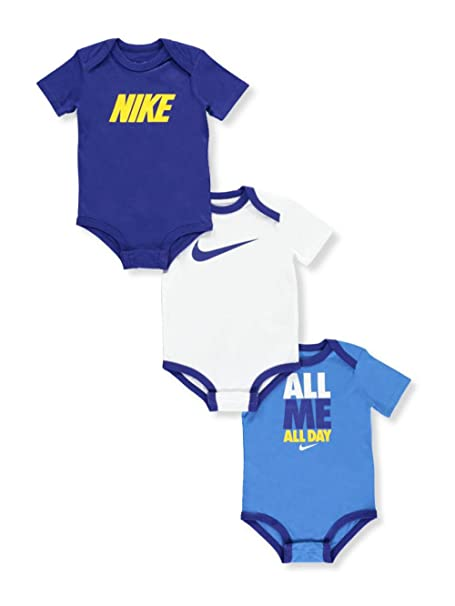 cead81a746 Amazon.com: Nike Baby Boys' 3-Pack Bodysuits - blue/multi, 6 - 9 months:  Sports & Outdoors