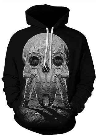824c66d124e9 AMOMA Unisex Realistic 3D Digital Print Pullover Hoodie Hooded Sweatshirt  (Small Medium