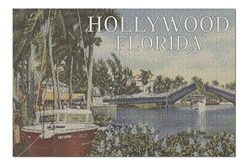(Hollywood, Florida - Boats and Canal Drawbridge - Vintage Postcard (20x30 Premium 1000 Piece Jigsaw Puzzle, Made in USA!))