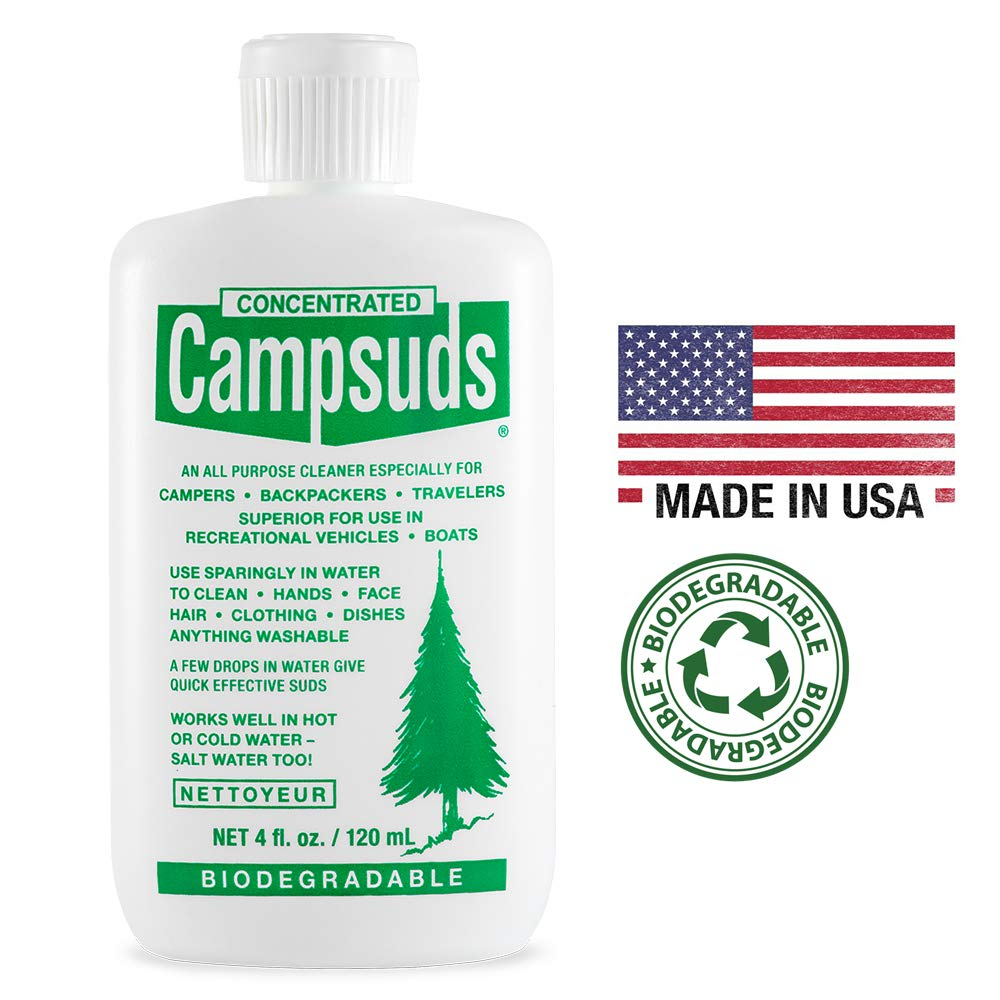 Sierra Dawn Campsuds Biodegradable Soap - All Purpose Cleaner for Camping, Hiking, Backpacking, Household - Perfect Liquid Soap for Camping Dishes, Shower, Shampoo, Hand (4oz)