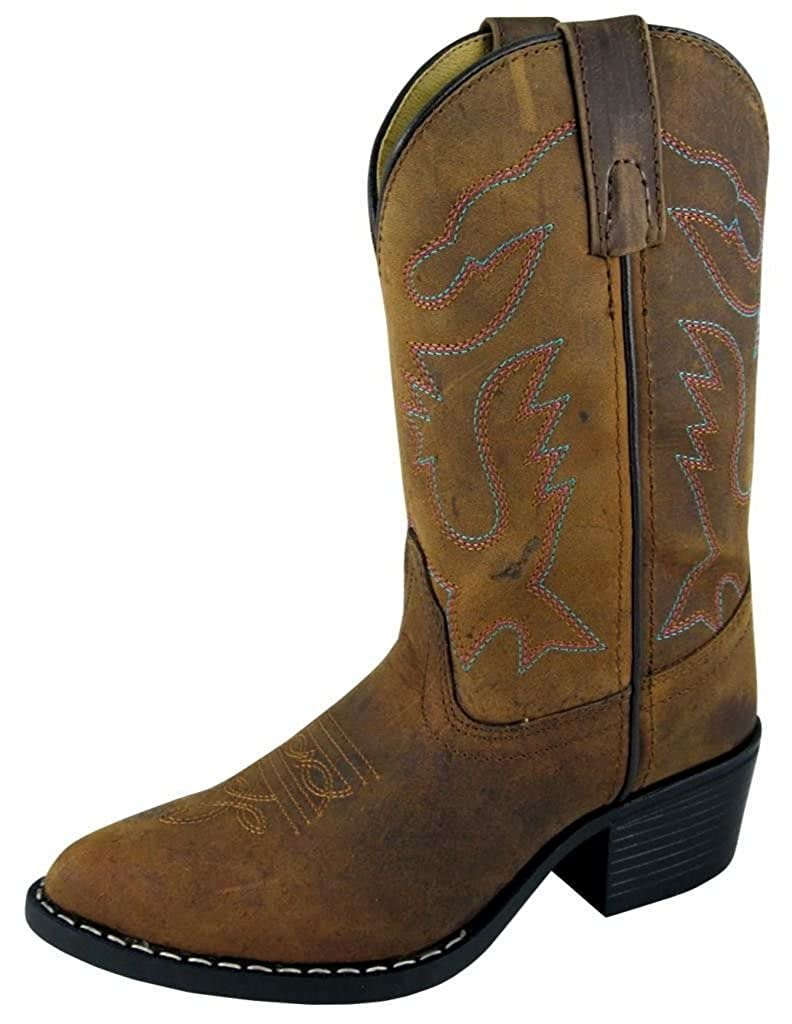 Smoky Childrens Kids Dakota Brown Leather Western Cowboy Boot