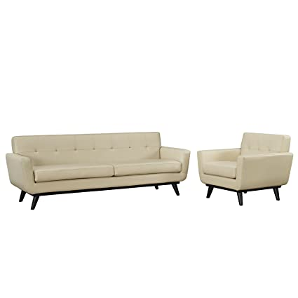 Modway Eei 1766 Bei Set Engage Mid Century Modern Upholstered Leather Sofa And Armchair Living Room Set Beige