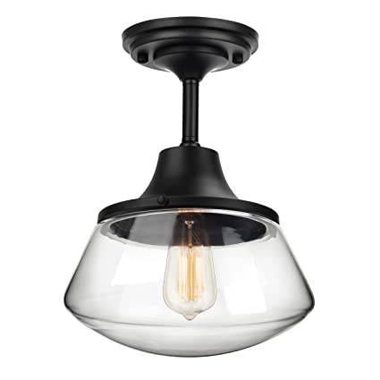 Petronius Industrial Semi Flush Mount Ceiling Light, Clear Glass ...
