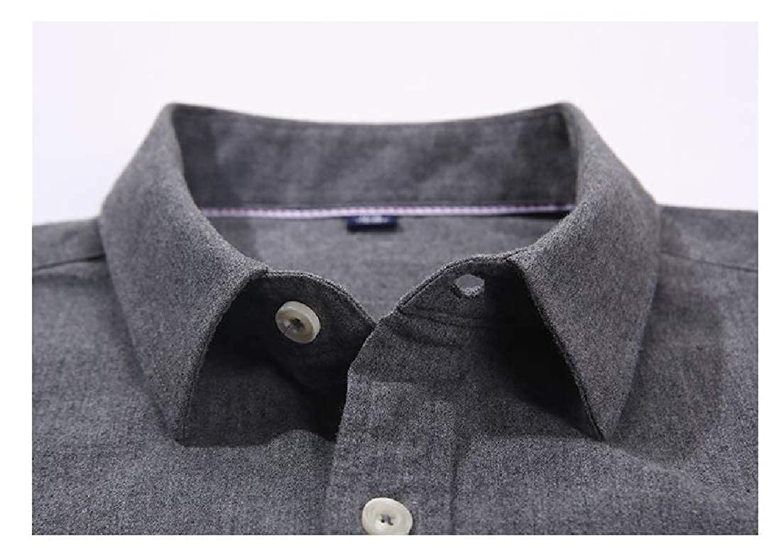 Unastar Men Pure Color Plus-Size Relaxed-Fit Premium Brushed Dress Shirts