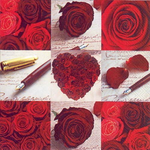 Ideal Home Range 20-Count 3-Ply Paper Lunch Napkins, Roses of Love ()