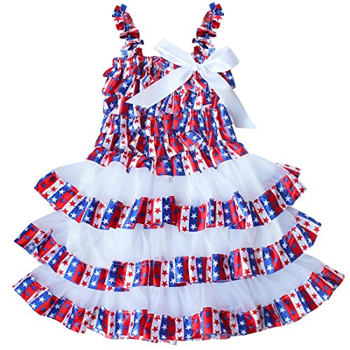 TiaoBug US Baby Girls Spaghetti Ruffle Tiered Cake Dress Multi-color Stars Size 12-18 (Star Tiered Dress)