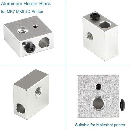 Bloque de calentador de aluminio 5pcs para MK7 / MK8 Impresora 3D ...