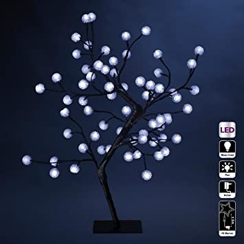 Decoración Navidad - Arbol luminoso de moras - 64 bombillas LED blancas: Amazon.es: Hogar