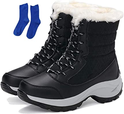 Amazon.com   KISSOURBABY Women's Fur Lining Winter Boots Outdoor Waterproof Snow  Boots   Snow Boots