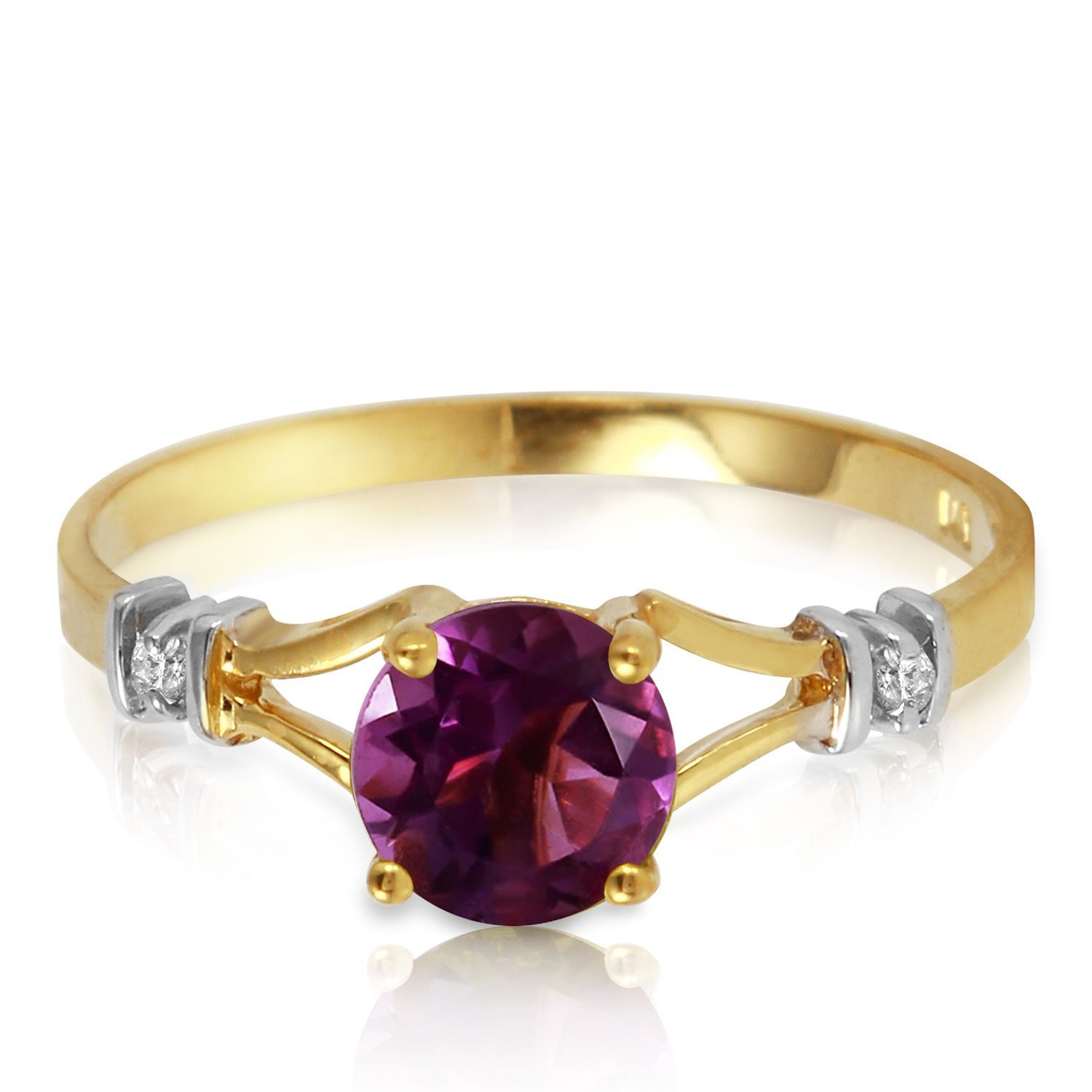 0.92 Carat 14k Solid Gold Ring with Natural Diamonds and Amethyst - Size 11