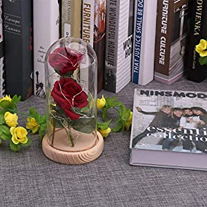 Artificial & Dried Flowers - Beauty And The Beast Red Rose Fallen Petals In A Glass Dome On Wooden Base 39 S Gifts Birthday Gift - Artificial Dried Flowers 42