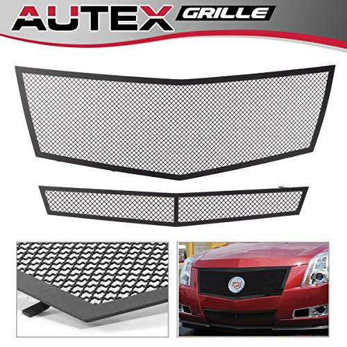 AUTEX Upper + Lower Bumper Mesh Grille Grill Combo Insert Black Powder Coated Stainless Steel A77768H Compatible With 2008-2013 Cadillac CTS