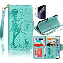 Sunroyal Detachable Leather PU Slim Wallet Case with Bling Cosmetic Mirror [Crystal Clear Screen Protector] [9 CARD SLOT][ID HOLDER] Premium Magnetic Folio Flip Cover for Samsung Galaxy S5 I9600 Green