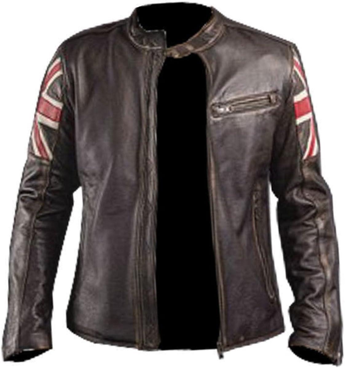 Mens Fashion Cafe Racer UK Flag Real Leather Jacket Brown