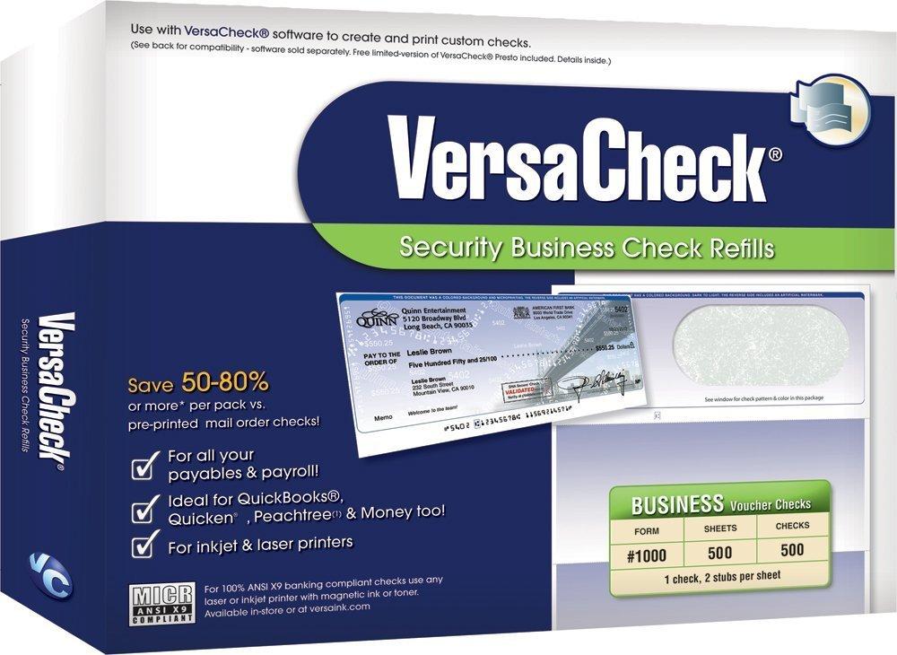 VersaCheck Security Business Check Refills: Form #1000 Business Voucher - Green - Classic - 500 Sheets