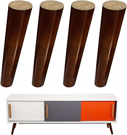 4 patas de repuesto de madera para sofá de 20,32 cm, acabado en nogal para sofá IKEA, banco, reposapiés, gabinete, elevador, placa de montaje