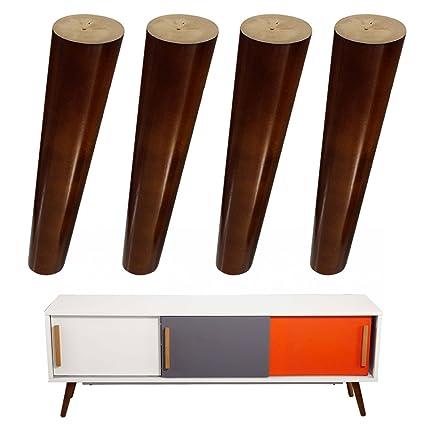 4 patas de madera de repuesto para muebles, sofá de madera de nogal ...