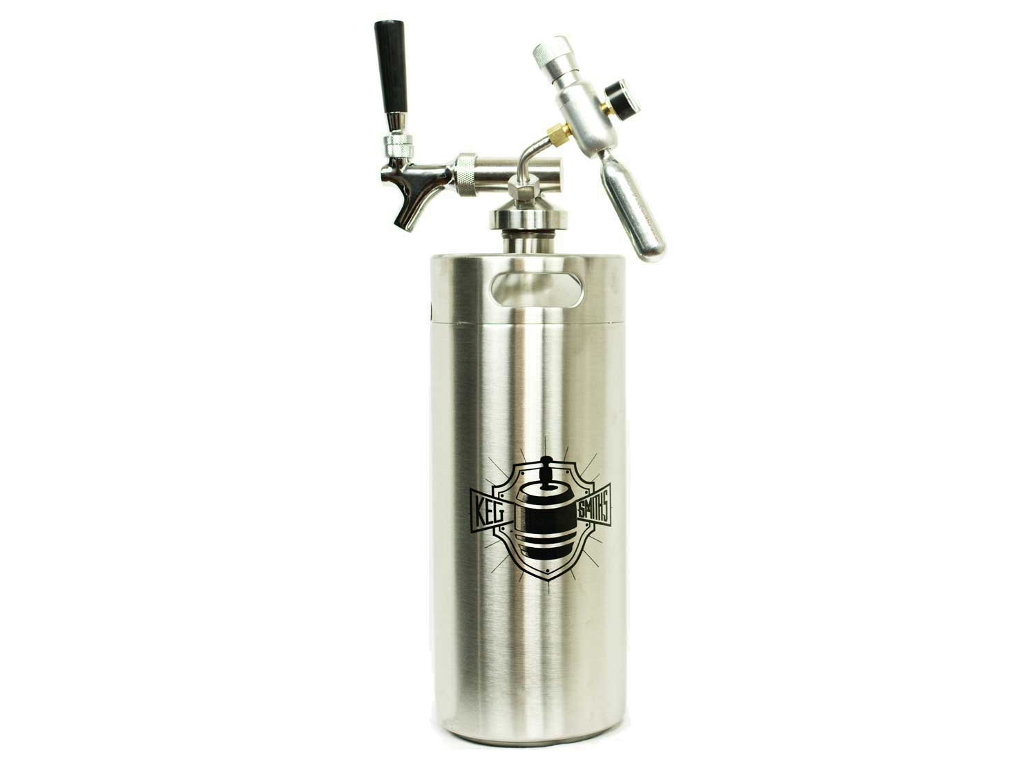Keg Smiths 128 oz Portable Draft Keg System | CO2 Regulated | Stainless Steel Keg | 8 Pint | Mini Keg Draft System