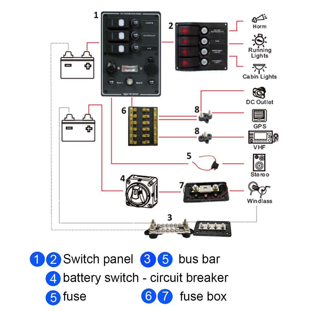Magideal Red Black Junction Block Power Post Set Zj Fuse Box Diagram Insulated Terminal Stud M10 3 8 Sports Outdoors