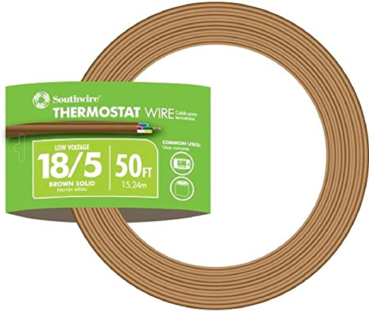 Southwire 64169622 5 Conductor 18/5 Thermostat Wire, 18-Gauge Solid Copper  Class 2 Power-Limited Circuit Cable, 50-Feet, Brown - Electrical Wires -  Amazon.com | Hvac Thermostat Wiring Gauge |  | Amazon.com