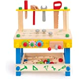 ROBUD Solid Wood Tool Stand Set for Toddlers and Kids, Wooden Workbench Toy Birthday for Boys Girls for 3 Year Old and Up