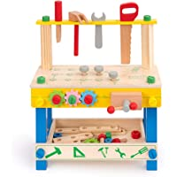 ROBUD Wooden Tool Workbench Toy for Kids & Toddlers, with Wood Tool Set Gift for Boys Girls 3 Year Old and Up