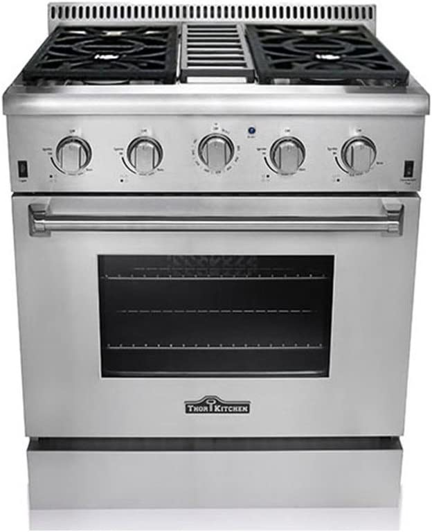 "Thor Kitchen HRG3080U 30"" Freestanding Professional Style Gas Range with 4.2 cu. ft. Oven, 4 Burners, Convection Fan, Cast Iron Grates, and Blue..."