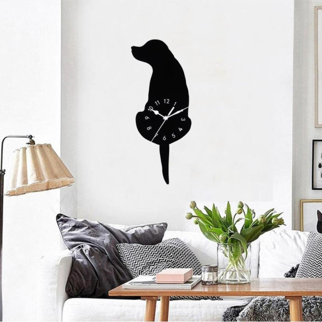 "LiPing 15.8"" Swing Tail Dog Acrylic Creative Cartoon Wall Clock - Easy To Read & Install Best For Home/Office/School Universal Use, Battery Operated (A)"