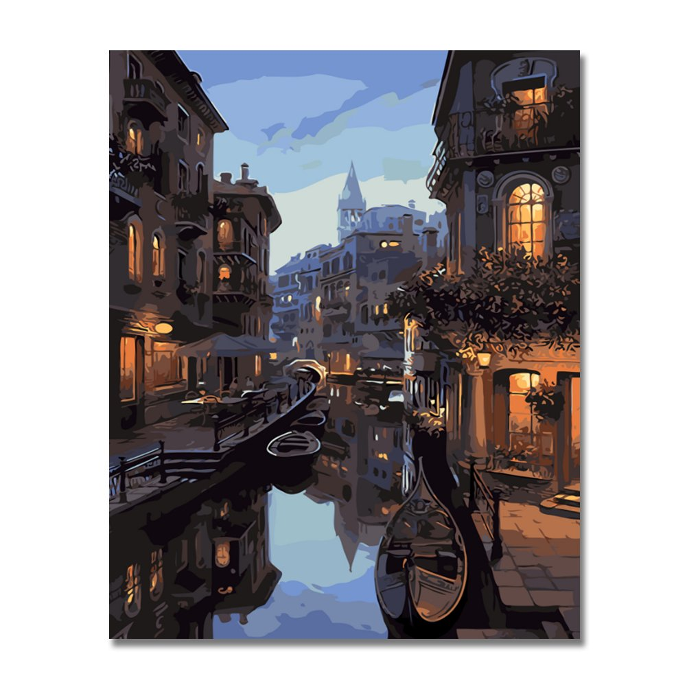 BOSHUN Paint by Numbers Kits with Brushes and Acrylic Pigment DIY Canvas Painting for Adults Beginner- Manhattan 16 x 20 inch(Without Frame)