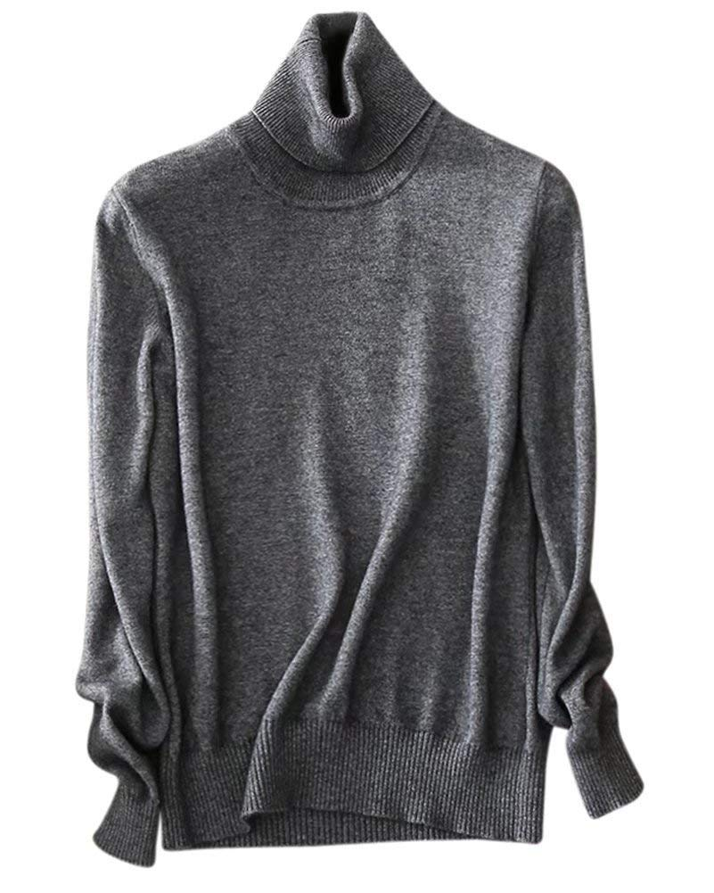 Women's Long Sleeves Turtleneck Lightweight Basic Cashmere Pullover Sweater, Dark Grey, Tag 3XL = US L(14)