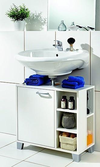 Galdem Waschbeckenunterschrank Mit Tür 5 Offene Fächer Bad Möbel Badschrank  Gäste WC Gästebad Waschtisch Unterschrank Holz
