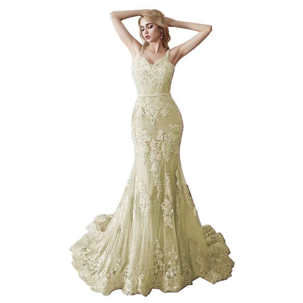 Champagne MariRobe Women's Lace Applique Bridesmaid Dress Mermaid Quinceanera Dress Strap Long Evening Dress Engagement Gown
