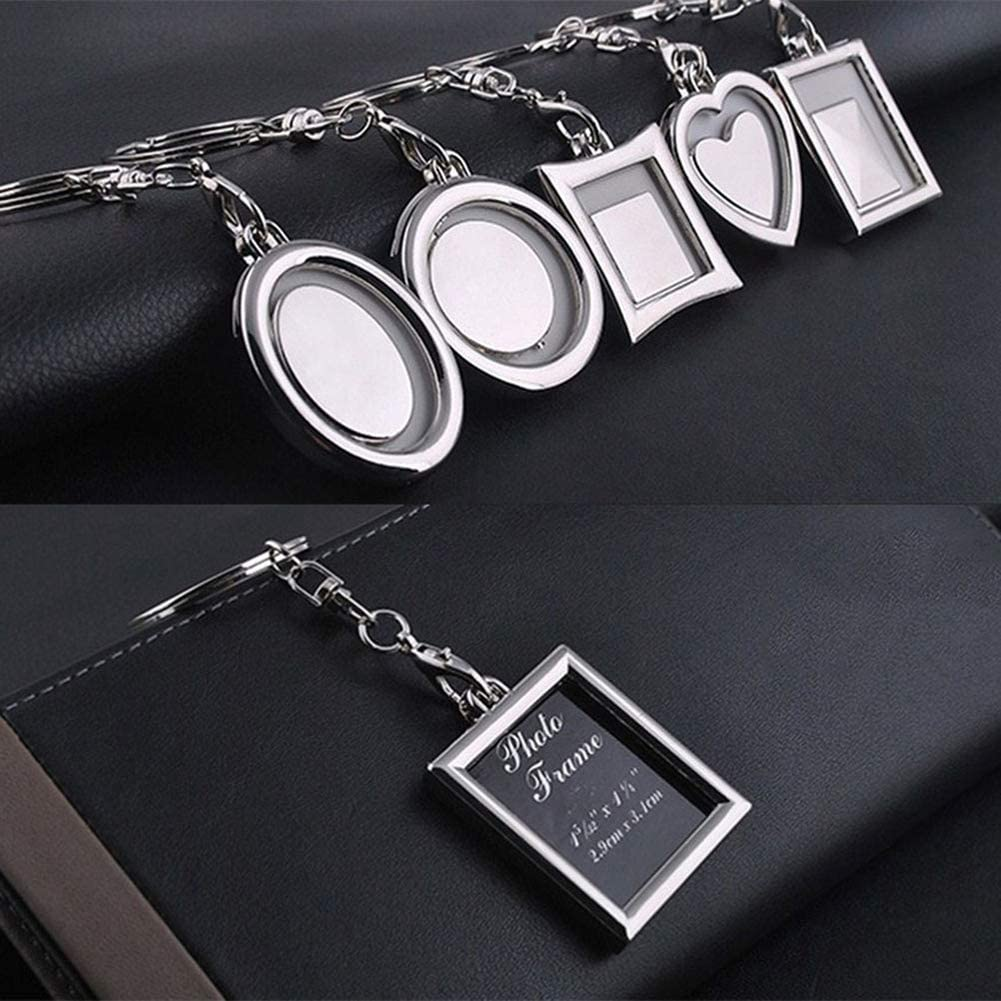 Rectangle Profusion Circle Key Ring DIY Metal Photo Frame Picture Holder Car Key Chain Pendant Gift Keyring