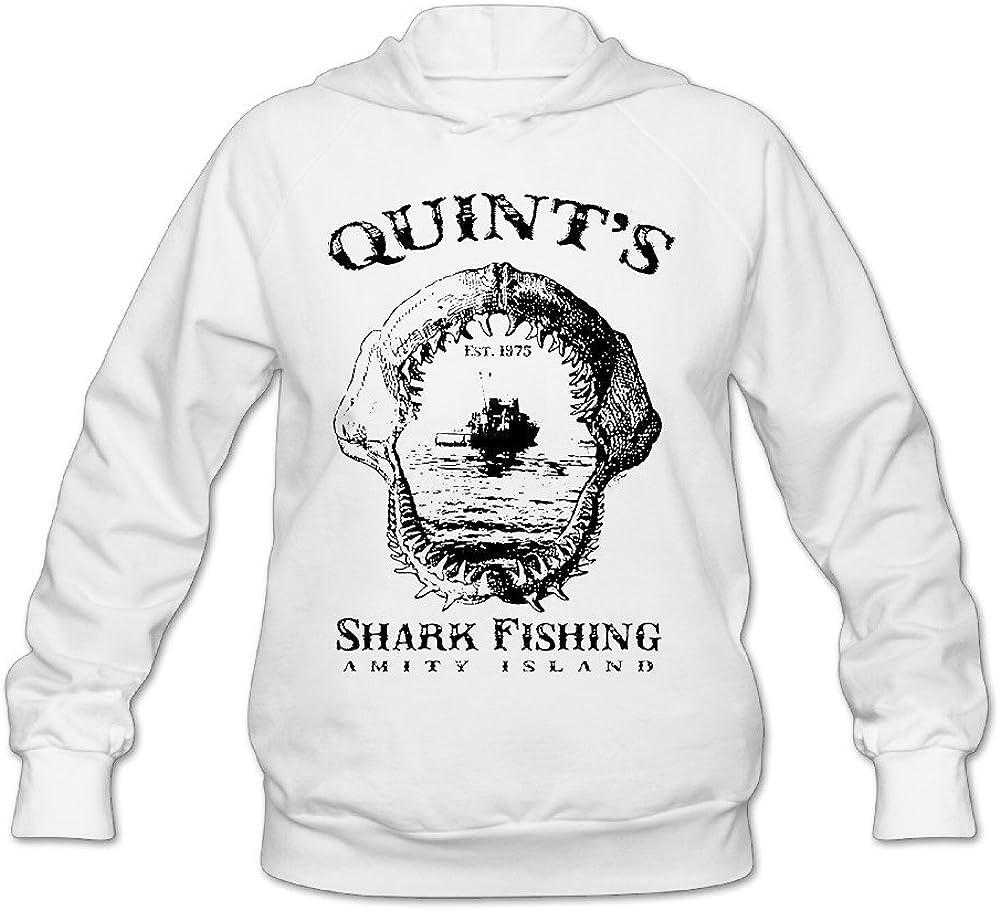 YQUE Women's Quint's Shark Fishing Hoodies Sweatshirt White