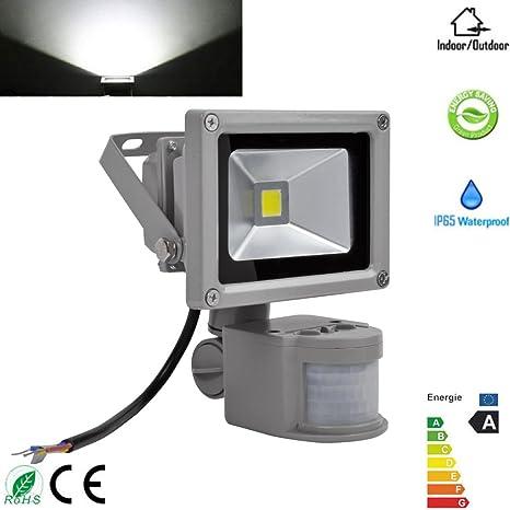 10 W blanco frío LED Foco con detector de movimiento lámpara bombilla foco exterior, Smart
