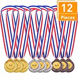 Blulu 12 Pieces Gold Sliver Bronze Olympic Style Metal Winner Medals Gold Sliver Bronze Awards Game Party