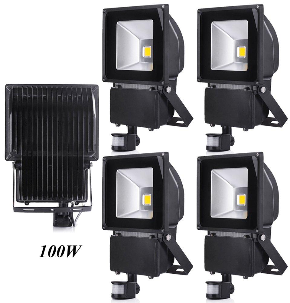 Foco Proyector con Iluminaci/ón LED y PIR Sensor de Movimiento Leetop 2X 100W Blanco C/álido LED Foco Proyector Luz