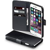 Terrapin Echt Leder Brieftasche Case Hülle mit Kartenfächer und Bargeld für iPhone 6S Plus / iPhone 6 Plus Hülle Schwarz