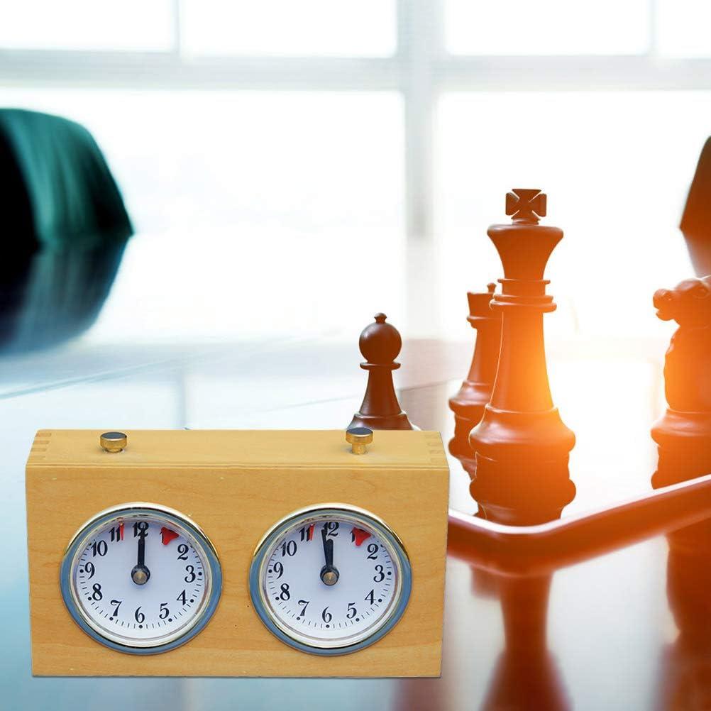 Keine Batterie erforderlich Analoger Schachuhr-Timer f/ür Turnier-Brettspiele tragbare mechanische Schachuhr aus Holz DUOCACL Schach-Timer