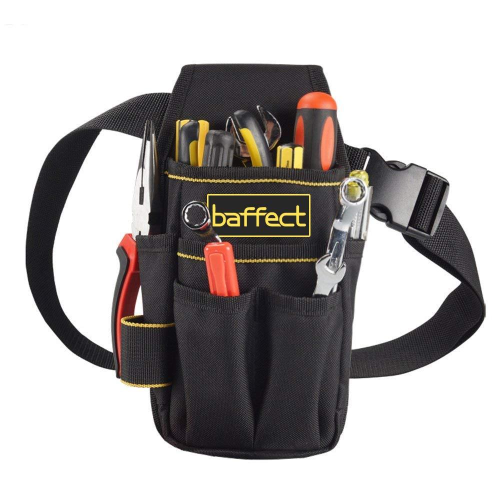 Baffect - Bolsa de herramientas de lona con cinturón de nailon ajustable, resistente y profesional, para electricistas, técnicos, color negro: Amazon.es: ...