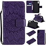 Cheap iPhone XS Case,iPhone X Wallet Case,SMYTU Premium Emboss Sunflower Flip Wallet Shell PU Leather Magnetic Cover Skin with Wrist Strap Case for iPhone XS(2018)&iPhone X(2017) 5.8″(Purple)
