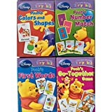 Disney Winnie the Pooh's Early Learning Flash Cards Set of 4 (Number Match, Shapes and Colors, First Words And Go-Together Game)