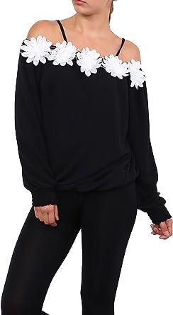 Moda Italy - Camisas - Sin cuello - para mujer negro 40: Amazon.es: Ropa y accesorios