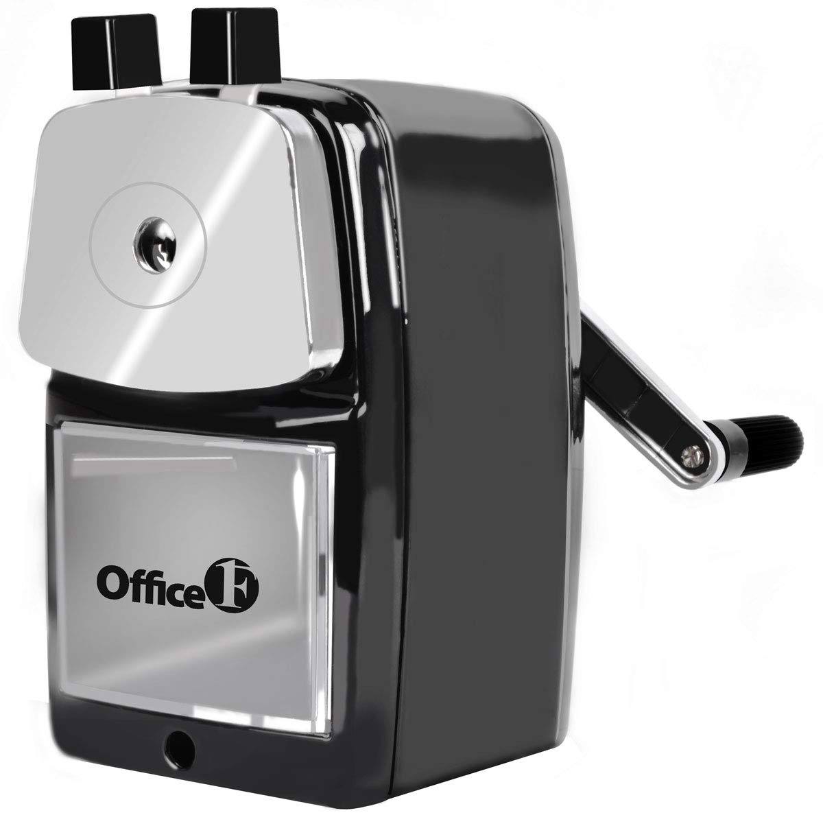OFFICE1ST Manual Pencil Sharpener, Desk-Mount Portable Pencil Sharpener, Metal Body, Heavy-duty Helical Steel Blade, Suitable for Classroom, Office and Home (Black)