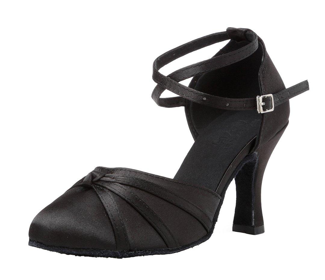 TDA Women's Closed Toe Cross-Strap Knot Black Satin Salsa Tango Ballroom Latin Dance Shoes 6 M US